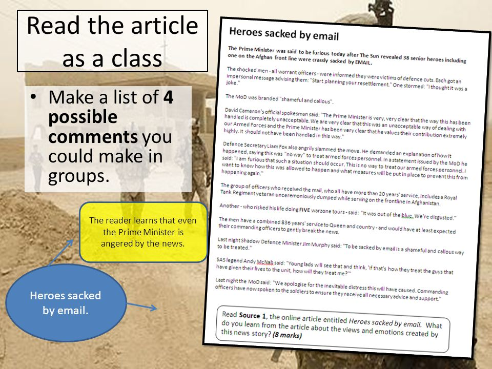 Read the article as a class Now pass your papers around and add quotations to support the points.