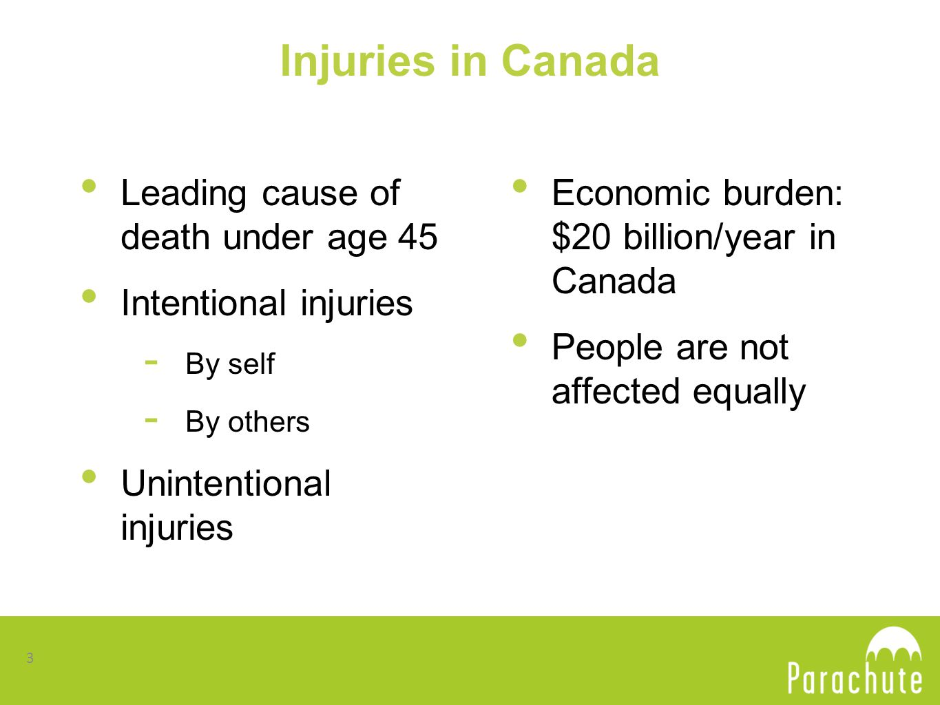 Injuries in Canada Leading cause of death under age 45 Intentional injuries - By self - By others Unintentional injuries Economic burden: $20 billion/year in Canada People are not affected equally 3