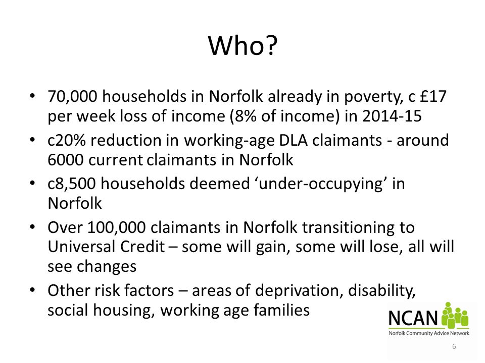 Who? 70,000 households in Norfolk already in poverty, c £17 per week loss of income (8% of income) in 2014-15 c20% reduction in working-age DLA claima