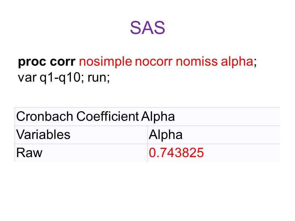 SAS proc corr nosimple nocorr nomiss alpha; var q1-q10; run; Cronbach Coefficient Alpha VariablesAlpha Raw0.743825