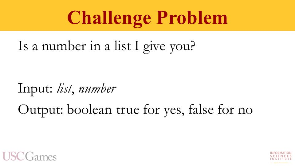Challenge Problem Is a number in a list I give you.