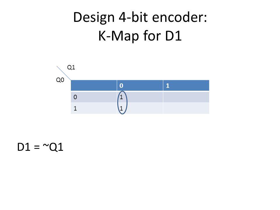 Design 4-bit encoder: K-Map for D0 01 01 11 Q1 Q0 D0 = (~Q1 * ~Q0) + (Q1 * Q0) = ~(Q1 xor Q0)