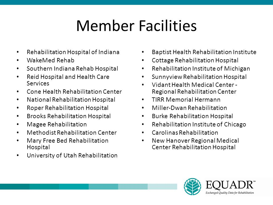 Member Facilities Rehabilitation Hospital of Indiana WakeMed Rehab Southern Indiana Rehab Hospital Reid Hospital and Health Care Services Cone Health