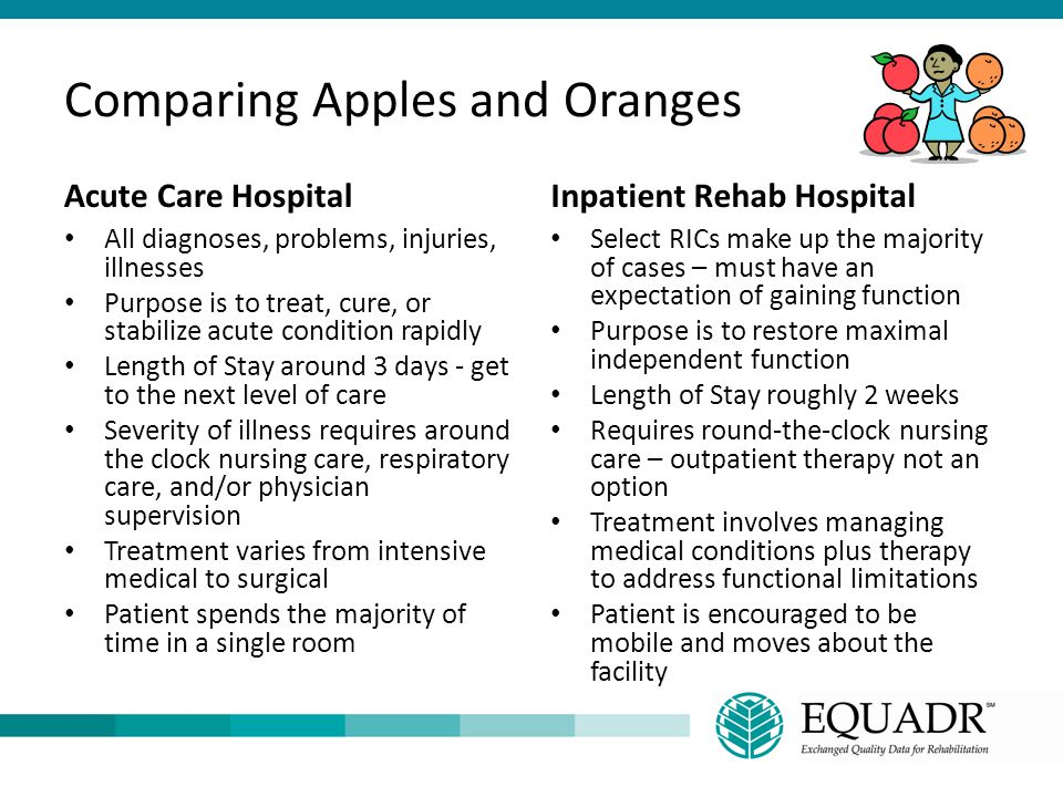 Comparing Apples and Oranges Acute Care Hospital All diagnoses, problems, injuries, illnesses Purpose is to treat, cure, or stabilize acute condition