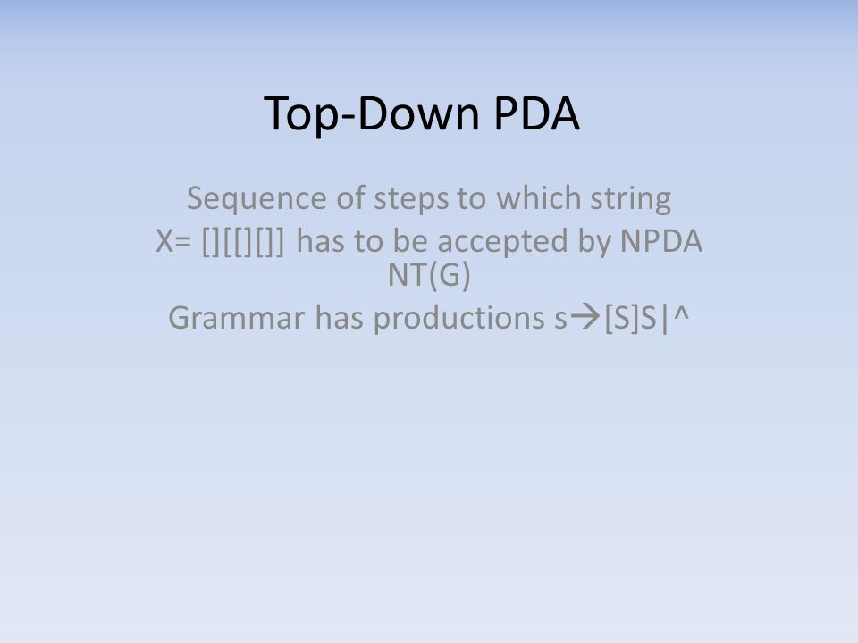 Top-Down PDA Sequence of steps to which string X= [][[][]] has to be accepted by NPDA NT(G) Grammar has productions s  [S]S|^