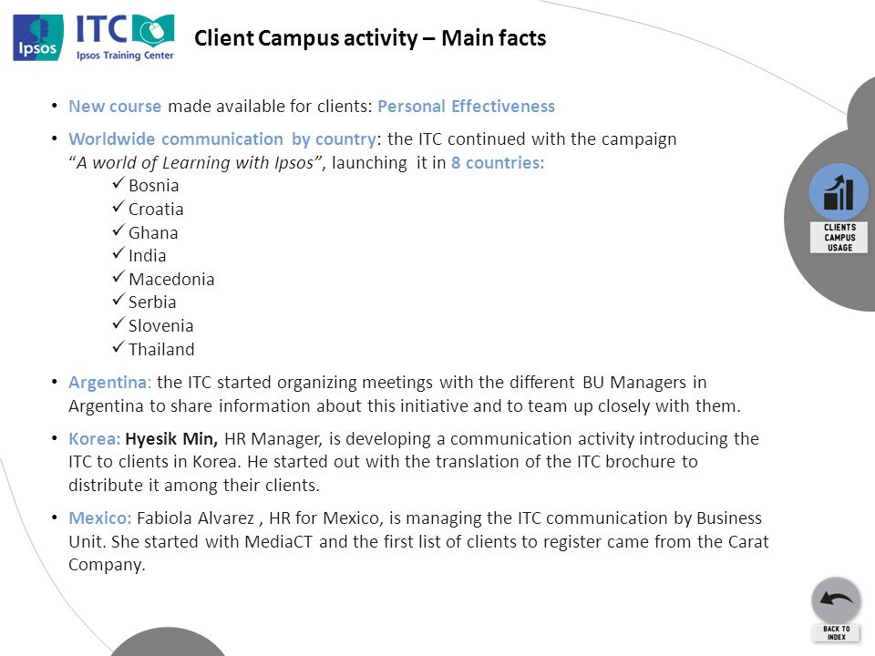 Client Campus activity – Main facts New course made available for clients: Personal Effectiveness Worldwide communication by country: the ITC continued with the campaign A world of Learning with Ipsos , launching it in 8 countries: Bosnia Croatia Ghana India Macedonia Serbia Slovenia Thailand Argentina: the ITC started organizing meetings with the different BU Managers in Argentina to share information about this initiative and to team up closely with them.