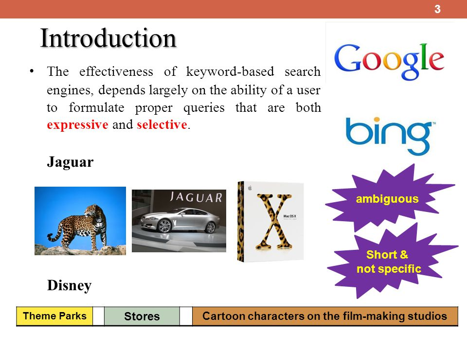 Introduction 3 The effectiveness of keyword-based search engines, depends largely on the ability of a user to formulate proper queries that are both expressive and selective.