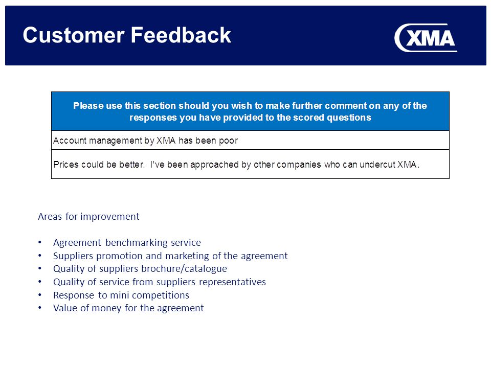 Areas for improvement Agreement benchmarking service Suppliers promotion and marketing of the agreement Quality of suppliers brochure/catalogue Qualit