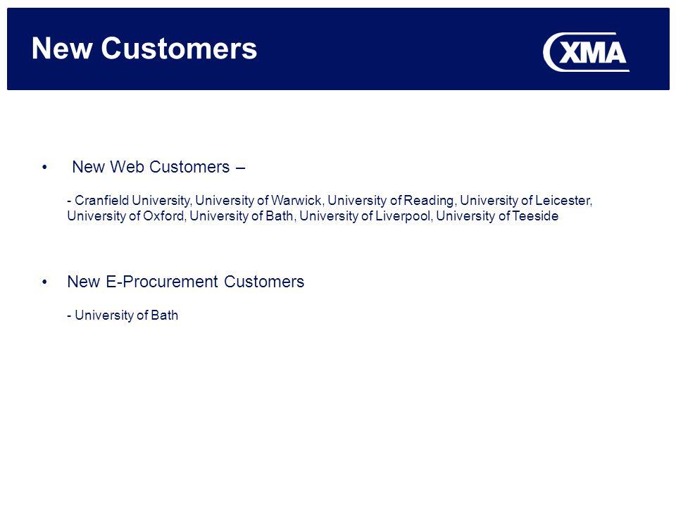 New Customers New Web Customers – - Cranfield University, University of Warwick, University of Reading, University of Leicester, University of Oxford,