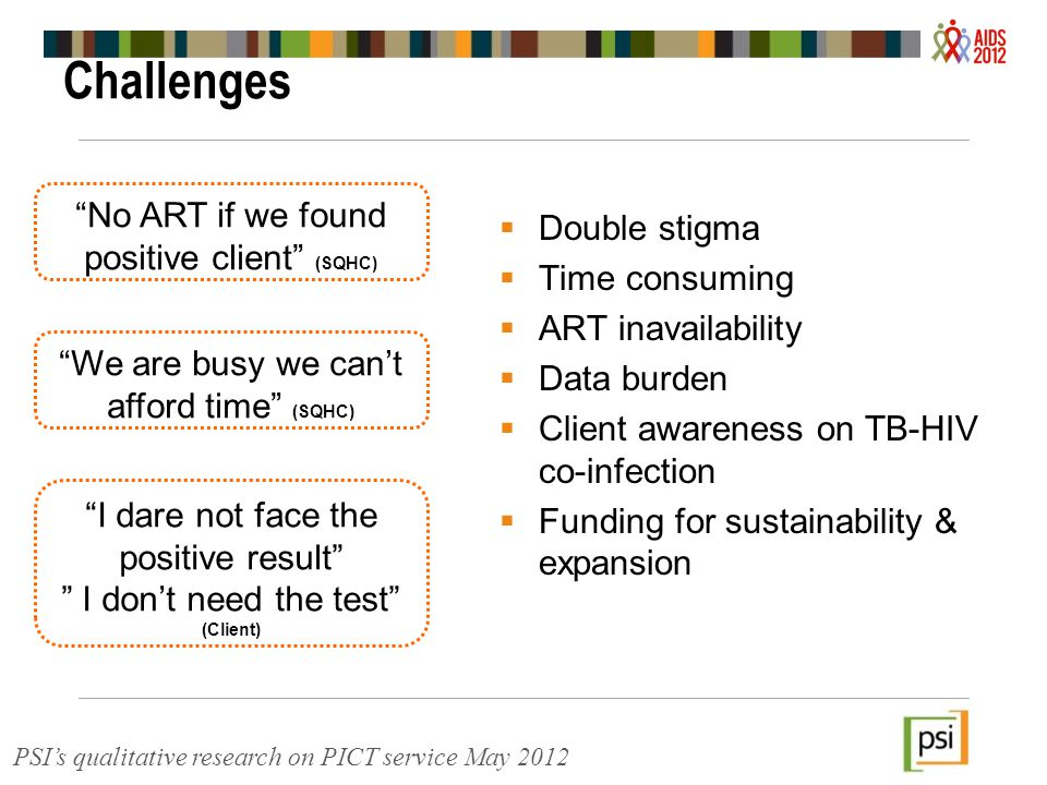 Challenges  Double stigma  Time consuming  ART inavailability  Data burden  Client awareness on TB-HIV co-infection  Funding for sustainability & expansion No ART if we found positive client (SQHC) We are busy we can't afford time (SQHC) I dare not face the positive result I don't need the test (Client) PSI's qualitative research on PICT service May 2012