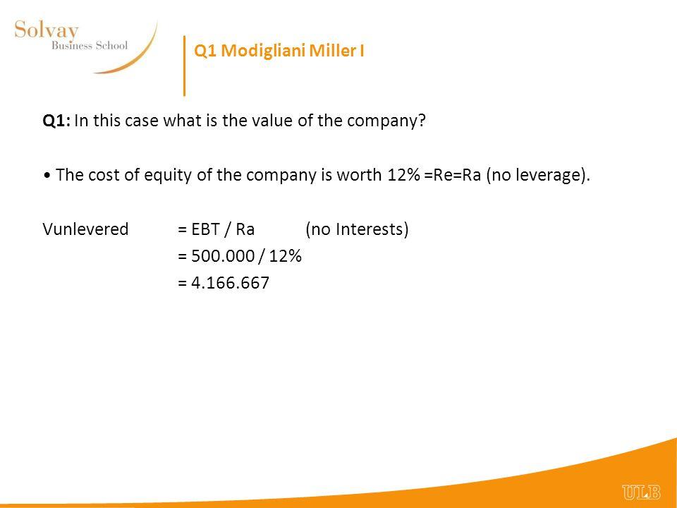 Q1 Modigliani Miller I Q1: To value: Freshwater Corp.