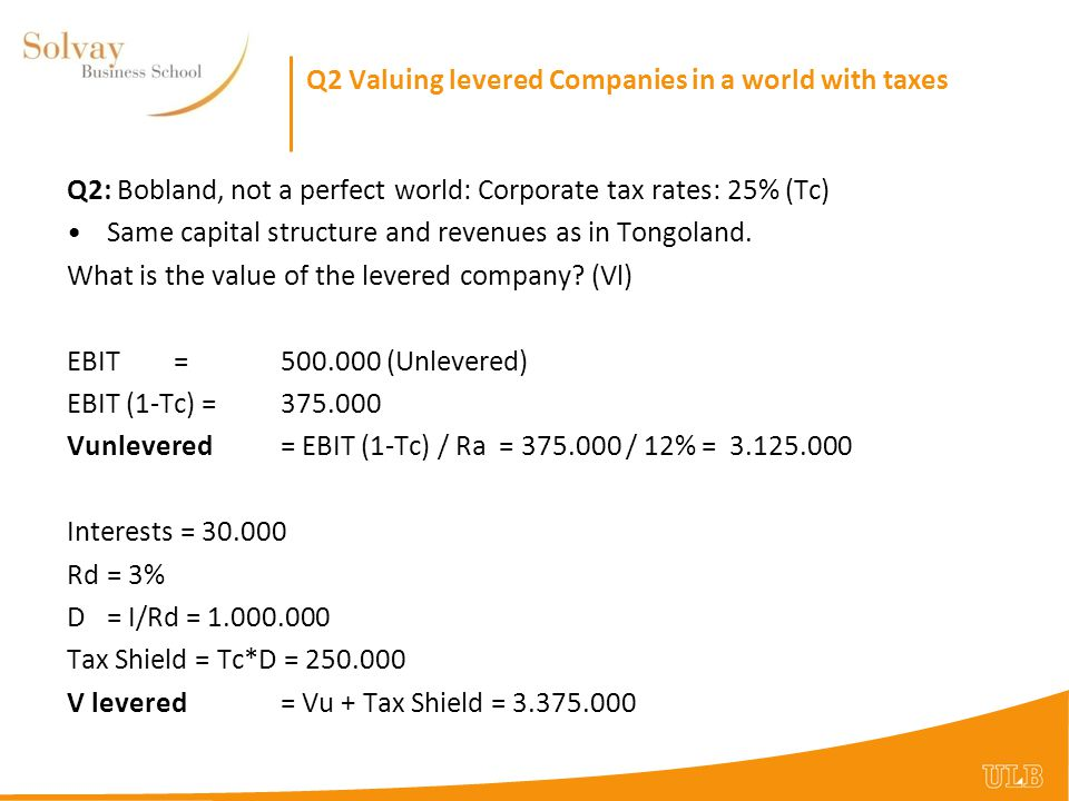 Q2 Valuing levered Companies in a world with taxes Q2: And of ra, the wacc, and re.