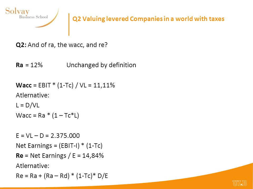 Q3 Marginal versus Average Tax RateValuing Q3: The subsidiary has an EBIT of 250.000$.