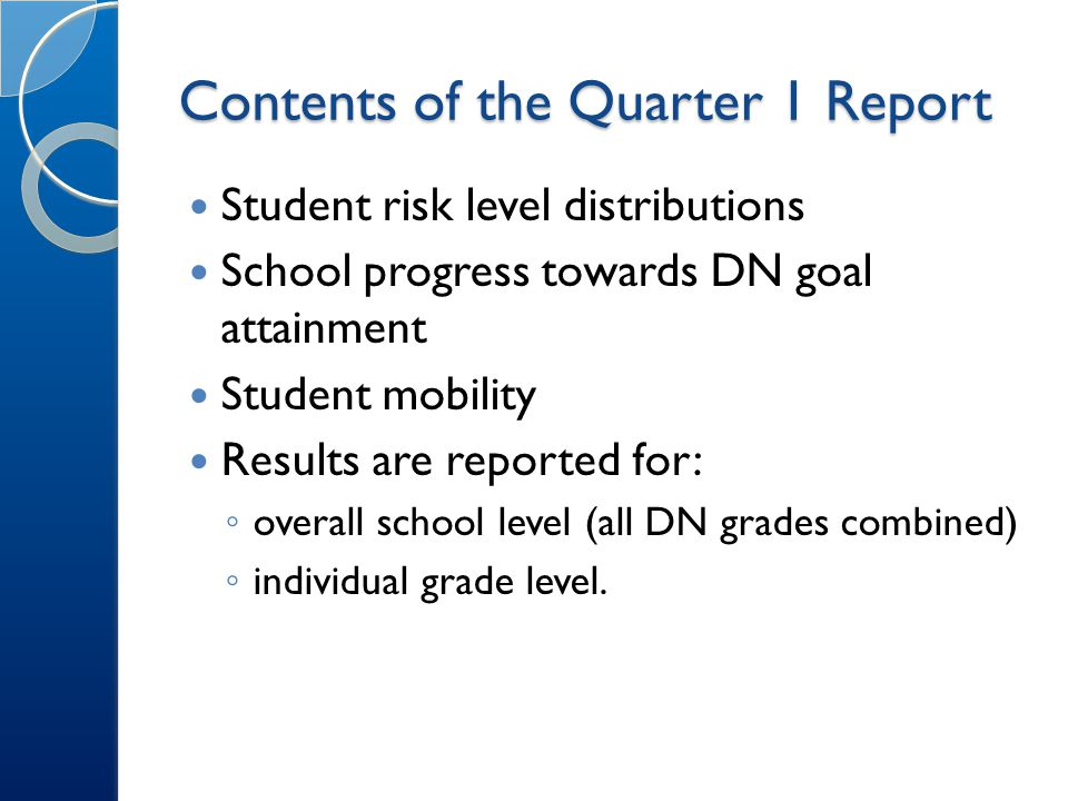 Contents of the Quarter 1 Report Student risk level distributions School progress towards DN goal attainment Student mobility Results are reported for: ◦ overall school level (all DN grades combined) ◦ individual grade level.