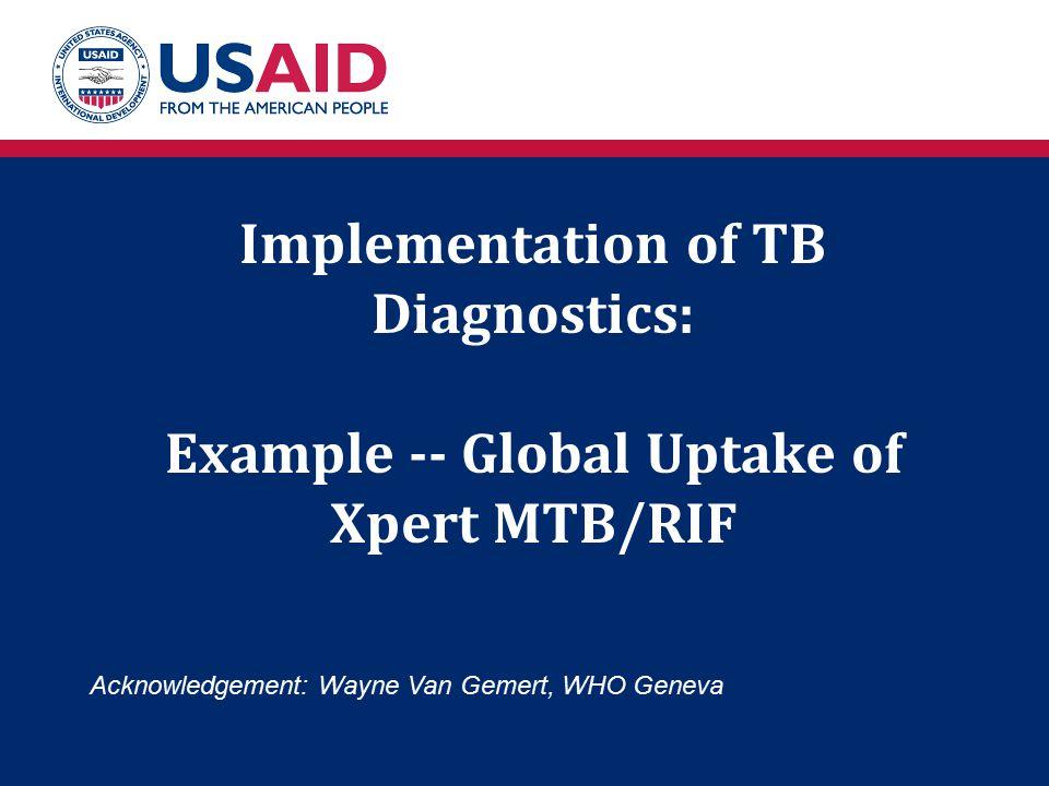 Implementation of TB Diagnostics: Example -- Global Uptake of Xpert MTB/RIF Acknowledgement: Wayne Van Gemert, WHO Geneva