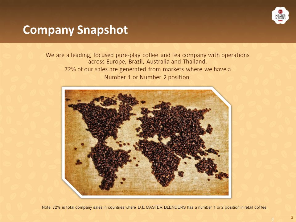 2 Company Snapshot We are a leading, focused pure-play coffee and tea company with operations across Europe, Brazil, Australia and Thailand. 72% of ou