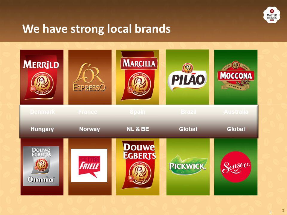 3 We have strong local brands 3 FranceSpainAustraliaBrazil NL & BEGlobalHungary Denmark GlobalNorway