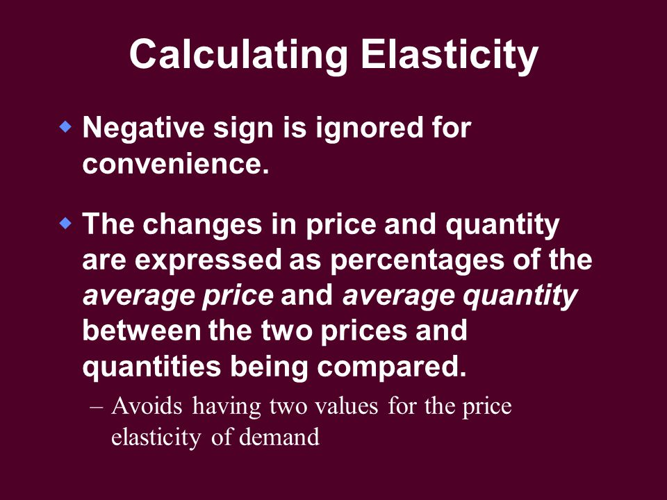 Calculating Elasticity  Negative sign is ignored for convenience.