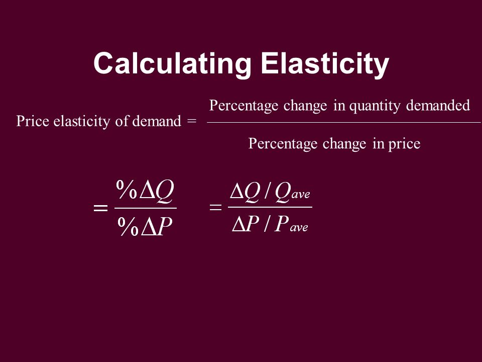 Calculating Elasticity Price elasticity of demand = Percentage change in quantity demanded Percentage change in price