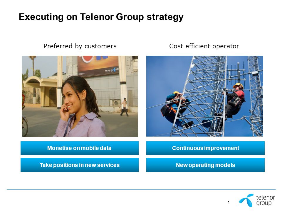 Executing on Telenor Group strategy Cost efficient operatorPreferred by customers Take positions in new servicesNew operating models Monetise on mobile dataContinuous improvement 6