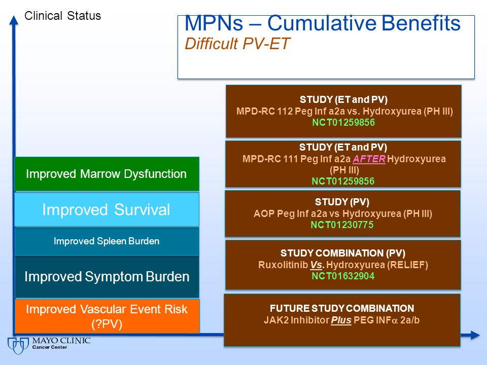 MPNs – Cumulative Benefits Single Agent Trials Alternate Targets Time Clinical Status Improved Symptom Burden Improved Spleen Burden Improved Survival