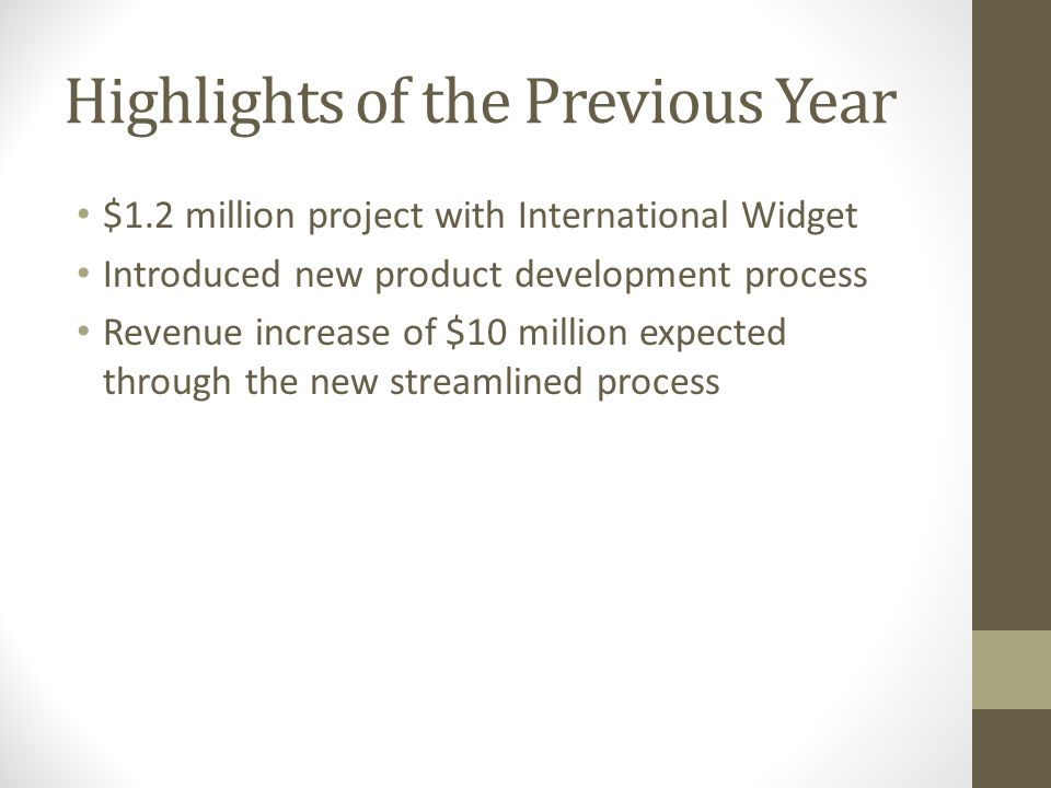Highlights of the Previous Year $1.2 million project with International Widget Introduced new product development process Revenue increase of $10 million expected through the new streamlined process