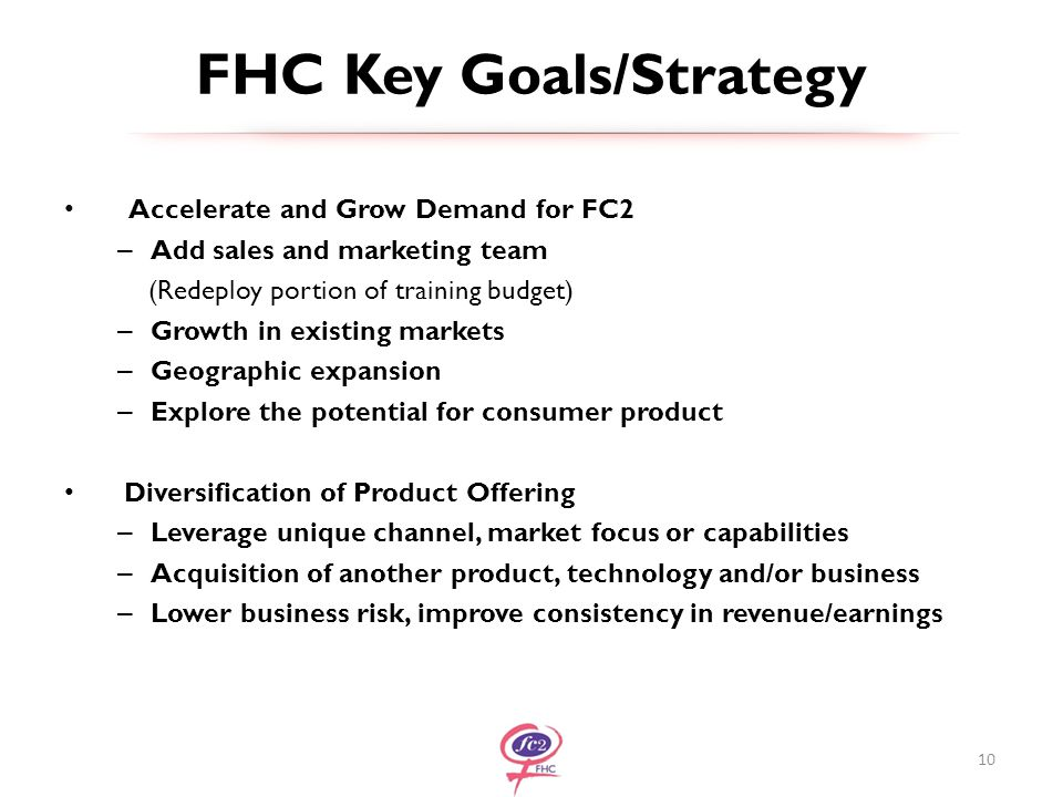 FHC Key Goals/Strategy Accelerate and Grow Demand for FC2 – Add sales and marketing team (Redeploy portion of training budget) – Growth in existing markets – Geographic expansion – Explore the potential for consumer product Diversification of Product Offering – Leverage unique channel, market focus or capabilities – Acquisition of another product, technology and/or business – Lower business risk, improve consistency in revenue/earnings 10