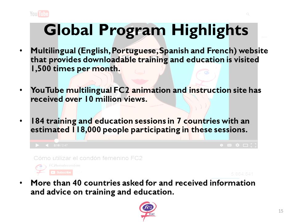 Global Program Highlights Multilingual (English, Portuguese, Spanish and French) website that provides downloadable training and education is visited 1,500 times per month.