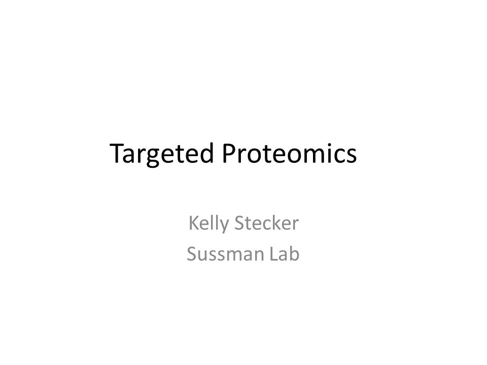 Outline What is MRM/SRM/Targeted mass spec Quantification using peptide standards Selecting standard peptides and building methods Practical notes and suggestions.