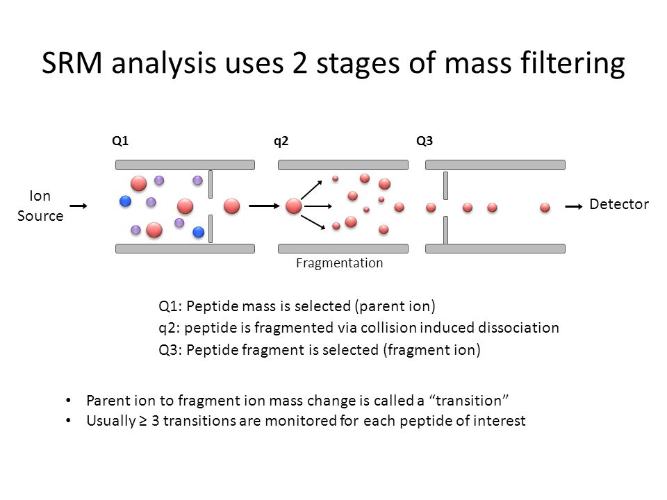 SRM analysis uses 2 stages of mass filtering Q1 q2Q3 Three transitions (aka 3 pieces of data identifying this peptide) MSDALSAIPAAVHRNLSDKLYEKRKNAAL MLENIVKNLTSSGDHDKISKVIEMLIKEFA KSPQANHR AQYLEQ IVPPVINSFSDQDSRVRYYACEALY NLTSSGDHDISK At1g01690.1 SK DISK DHDISK SGDHDISK NLTSS NLTSSGDH NL SGDHDISK NLTSSGDHDISKSGDHDISK NLTSSGDHDISKDHDISK NLTSSGDHDISKNLTSS