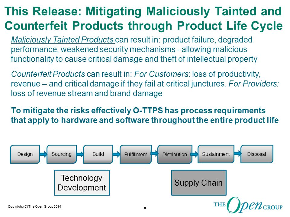 Copyright (C) The Open Group 2014 This Release: Mitigating Maliciously Tainted and Counterfeit Products through Product Life Cycle Maliciously Tainted Products can result in: product failure, degraded performance, weakened security mechanisms - allowing malicious functionality to cause critical damage and theft of intellectual property 8 Counterfeit Products can result in: For Customers: loss of productivity, revenue – and critical damage if they fail at critical junctures.