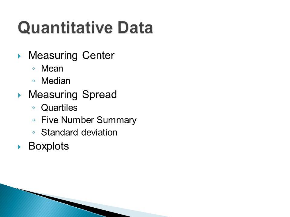  Measuring Center ◦ Mean ◦ Median  Measuring Spread ◦ Quartiles ◦ Five Number Summary ◦ Standard deviation  Boxplots