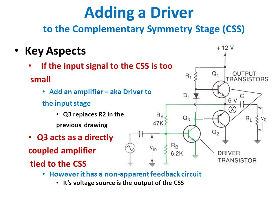 Adding a Driver to the Complementary Symmetry Stage (CSS) Key Aspects If the input signal to the CSS is too small Add an amplifier – aka Driver to the