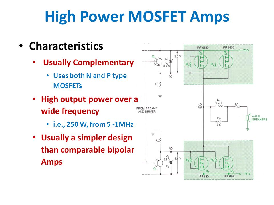 High Power MOSFET Amps Characteristics Usually Complementary Uses both N and P type MOSFETs High output power over a wide frequency i.e., 250 W, from