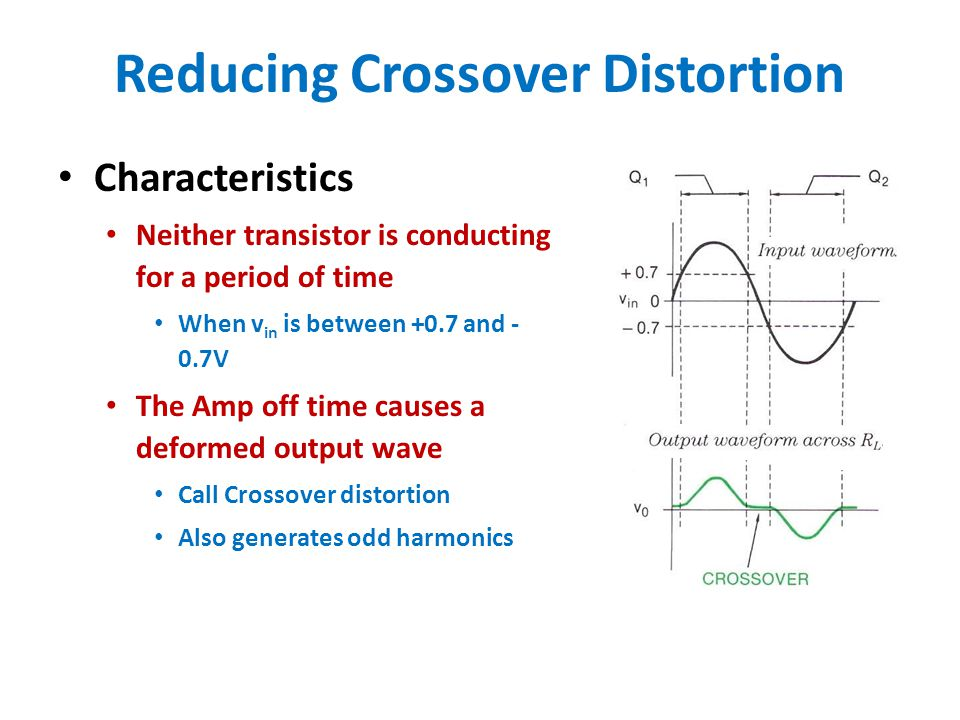 Reducing Crossover Distortion Cure to reduce distortion Insert a diode between the base ins of Q1 and Q2 Operation Both transistors are forward biased to about 0.35 V Will reduce crossover distortion Some distortion will remain D1 doesn't rectify the input Acts like a 0.7V battery in the circuit