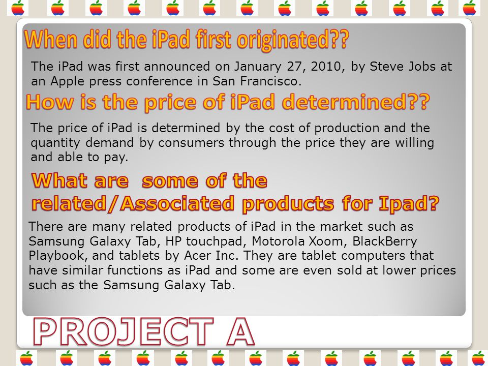 This is a study of the iPad market where producers study how recent changes in the market can affect the revenue of firm.