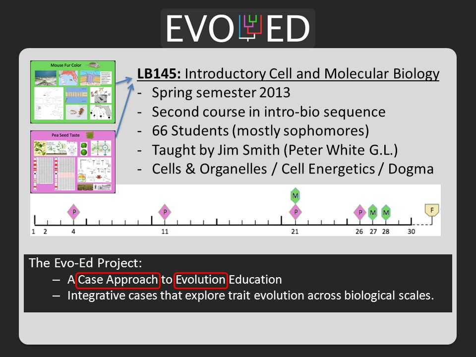 LB145: Introductory Cell and Molecular Biology -Spring semester 2013 -Second course in intro-bio sequence -66 Students (mostly sophomores) -Taught by Jim Smith (Peter White G.L.) -Cells & Organelles / Cell Energetics / Dogma The Evo-Ed Project: – A Case Approach to Evolution Education – Integrative cases that explore trait evolution across biological scales.