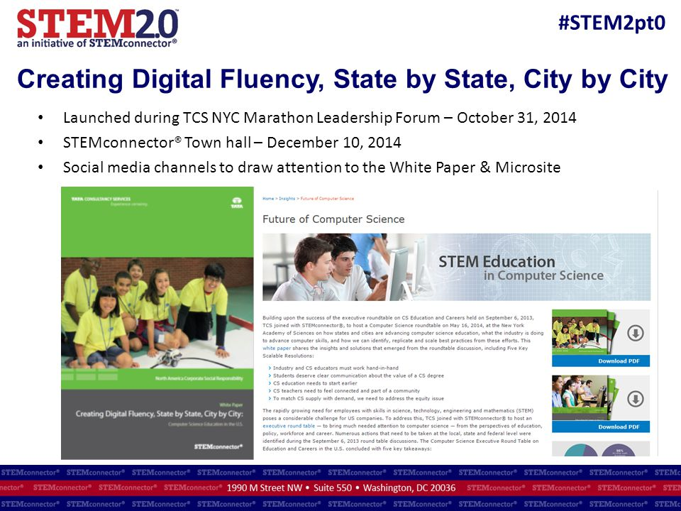 #STEM2pt0 Creating Digital Fluency, State by State, City by City Launched during TCS NYC Marathon Leadership Forum – October 31, 2014 STEMconnector® T