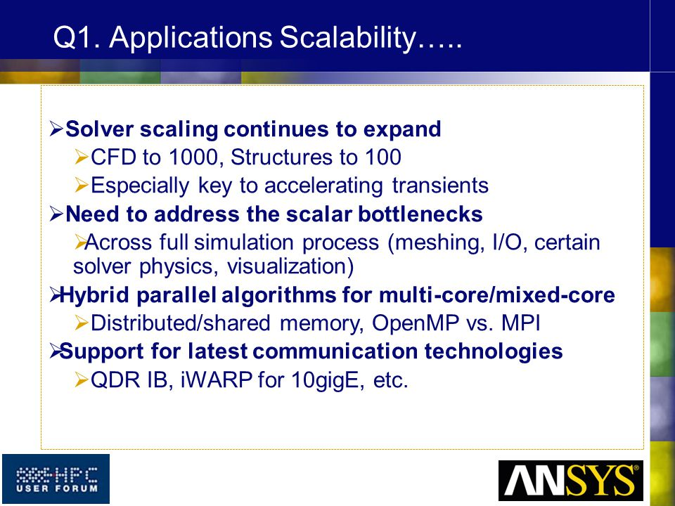  Solver scaling continues to expand  CFD to 1000, Structures to 100  Especially key to accelerating transients  Need to address the scalar bottlen