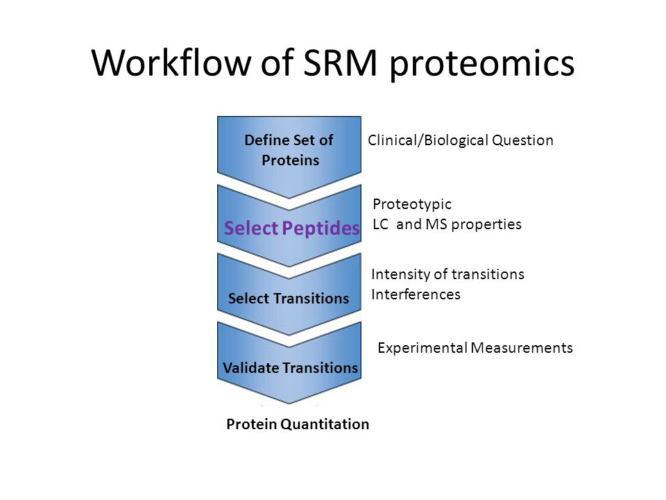 Workflow of SRM proteomics Define Set of Proteins Select Peptides Select Transitions Validate Transitions Clinical/Biological Question Proteotypic LC