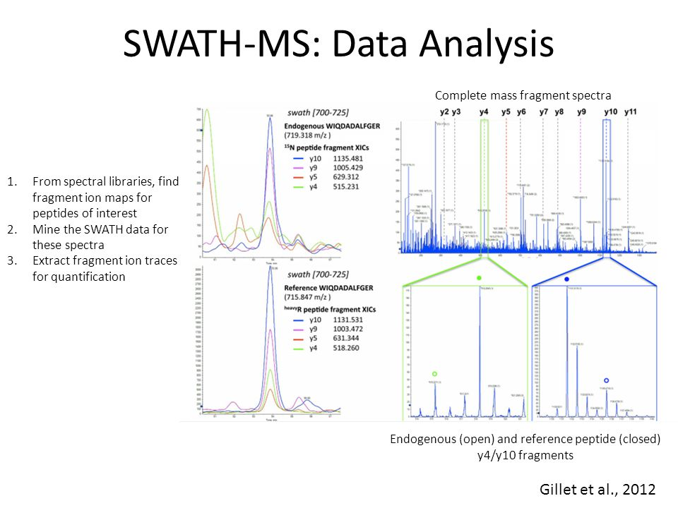 SWATH-MS: Data Analysis 1.From spectral libraries, find fragment ion maps for peptides of interest 2.Mine the SWATH data for these spectra 3.Extract f