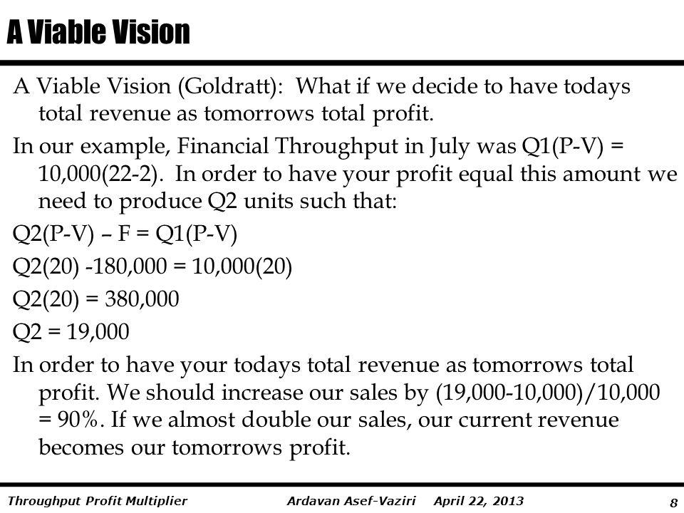 9 Ardavan Asef-Vaziri April 22, 2013Throughput Profit Multiplier A Viable Vision- Goldratt Decide to have your todays total revenue as your tomorrows total profit.