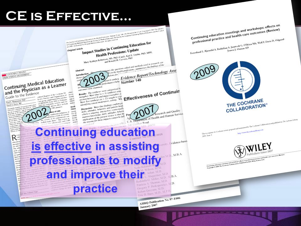 2002 2003 2007 2009 Continuing education is effective in assisting professionals to modify and improve their practice CE is Effective…