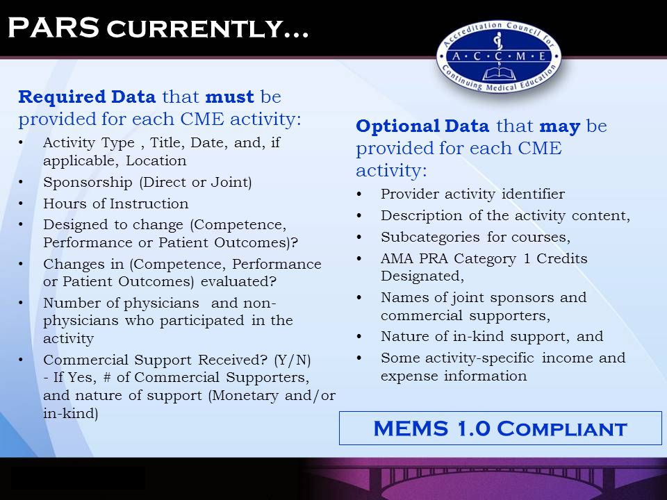 Optional Data that may be provided for each CME activity: Provider activity identifier Description of the activity content, Subcategories for courses, AMA PRA Category 1 Credits Designated, Names of joint sponsors and commercial supporters, Nature of in-kind support, and Some activity-specific income and expense information Required Data that must be provided for each CME activity: Activity Type, Title, Date, and, if applicable, Location Sponsorship (Direct or Joint) Hours of Instruction Designed to change (Competence, Performance or Patient Outcomes).