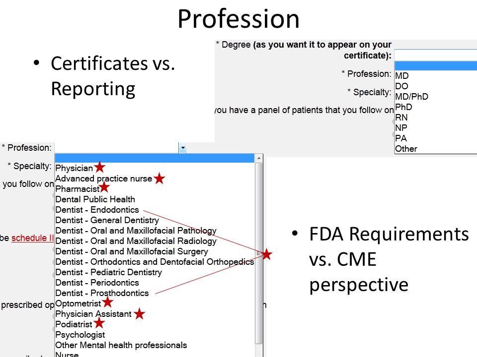 Profession Certificates vs. Reporting FDA Requirements vs. CME perspective