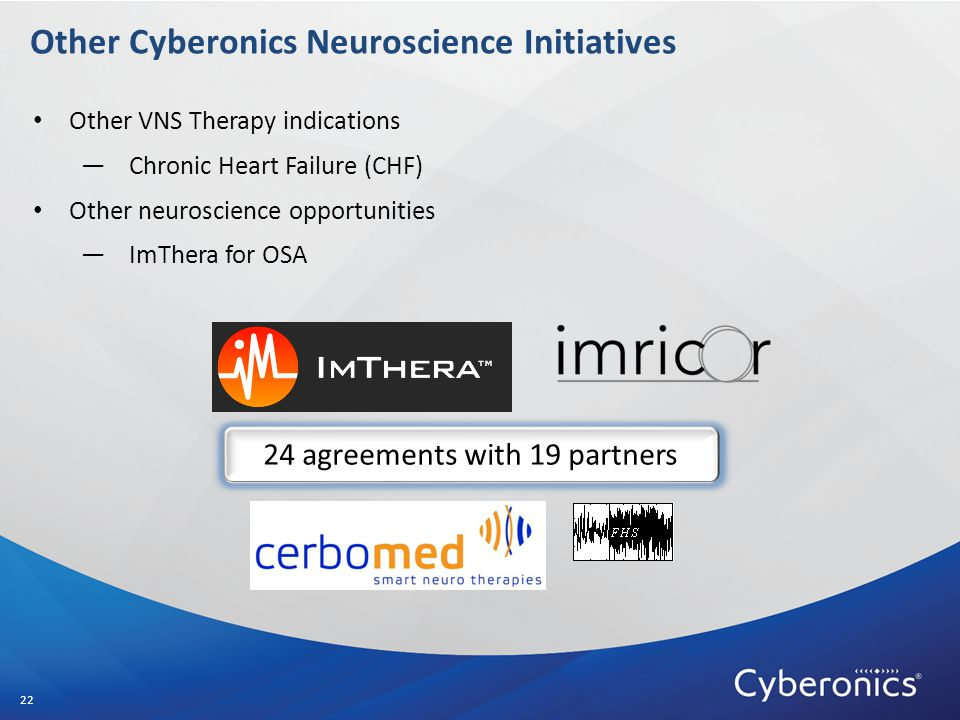 Other Cyberonics Neuroscience Initiatives Other VNS Therapy indications —Chronic Heart Failure (CHF) Other neuroscience opportunities —ImThera for OSA 22 24 agreements with 19 partners