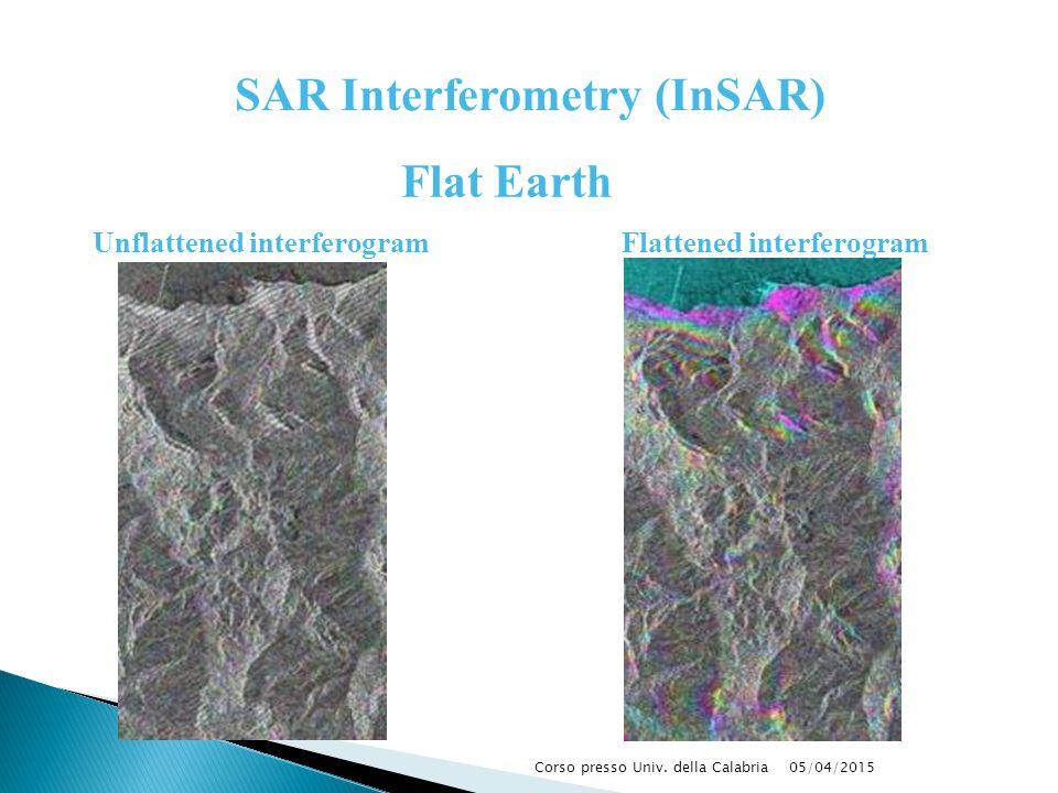 05/04/2015Corso presso Univ. della Calabria Unflattened interferogramFlattened interferogram Flat Earth SAR Interferometry (InSAR)