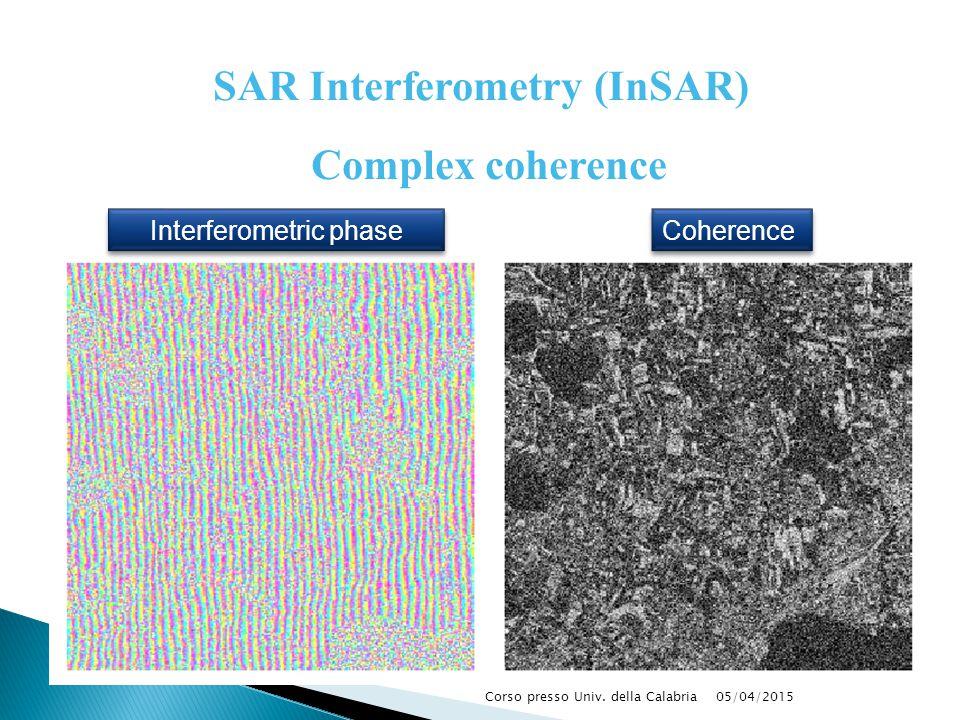 05/04/2015Corso presso Univ. della Calabria Interferometric phase Coherence Complex coherence SAR Interferometry (InSAR)
