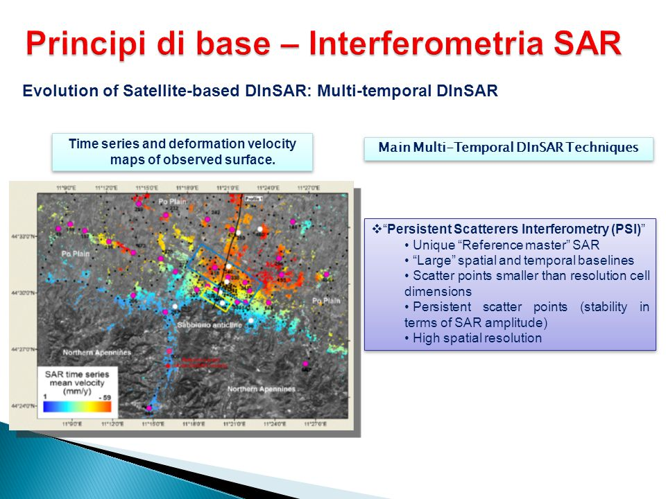 """Evolution of Satellite-based DInSAR: Multi-temporal DInSAR Time series and deformation velocity maps of observed surface.  """"Persistent Scatterers Int"""