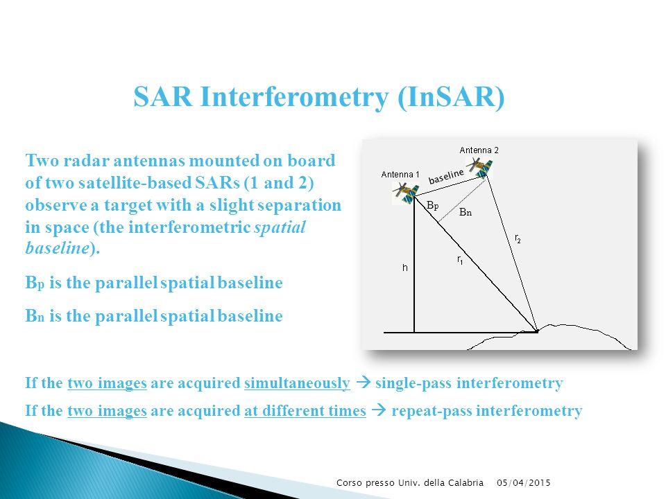 05/04/2015Corso presso Univ. della Calabria SAR Interferometry (InSAR) If the two images are acquired simultaneously  single-pass interferometry If t